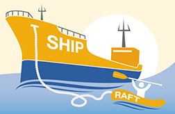 Drawing of a Ship and Raft